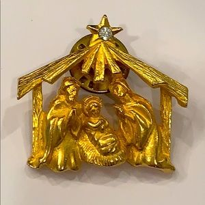 💐5/25 Christmas nativity scene baby Jesus gold